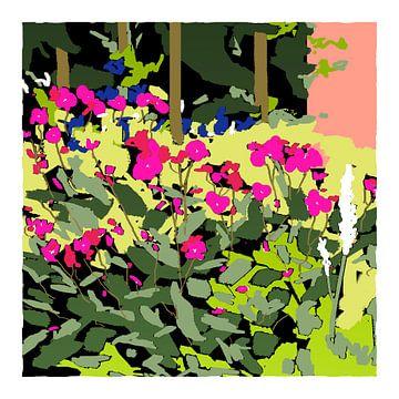 Zeefdruk art-kunst van tuin in voorjaarskleuren van Marianne van der Zee
