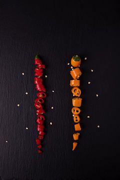 twee gekleurde pepers 3 van 3