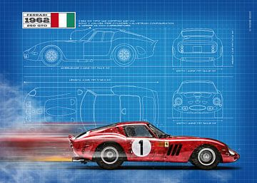 250 GTO Blauwdruk van Theodor Decker