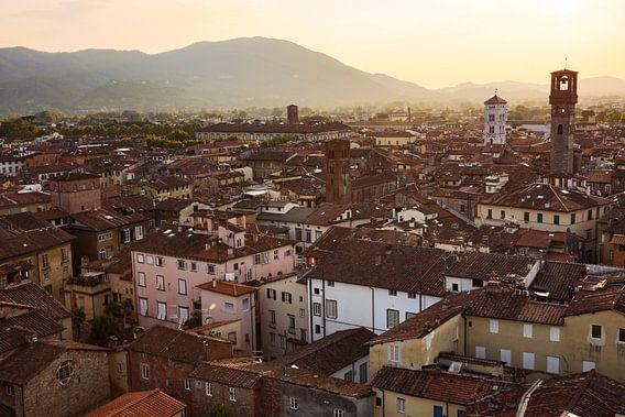 Uitzicht over Lucca in Toscane van Steven Dijkshoorn