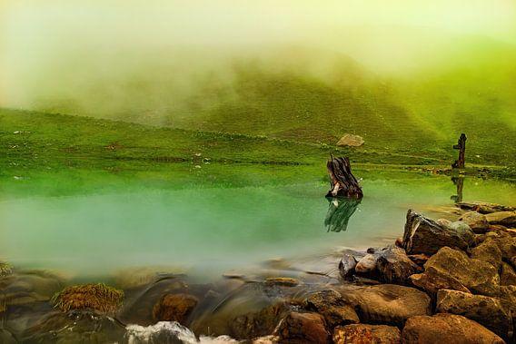 Beekje gehuld in vreemde mist in de bergen