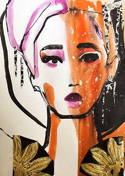Geisha in the Snow van Helia Tayebi Art