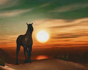 Paard bij zonsondergang 2