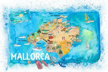 Geïllustreerde kaart van Mallorca Spanje met bezienswaardigheden en hoogtepunten van Markus Bleichner