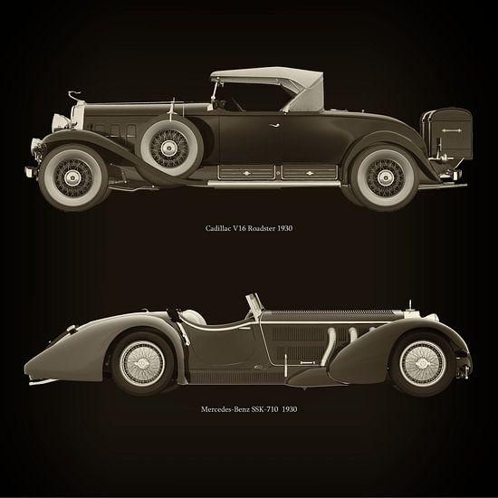 Cadillac V16 Roadster 1930 en Mercedes -Benz SSK 710 1930