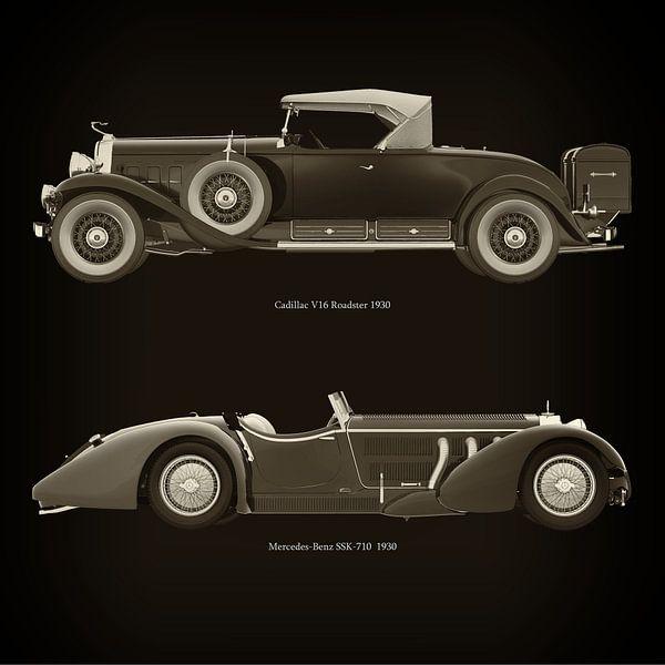 Cadillac V16 Roadster 1930 en Mercedes -Benz SSK 710 1930 van Jan Keteleer