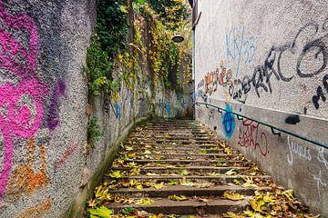 Weg mit Graffiti in Lyon von Anouschka Hendriks