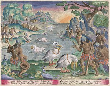 Indianen vangen vis met behulp van pelikanen, Karel van Mallery, after Jan van der Straet
