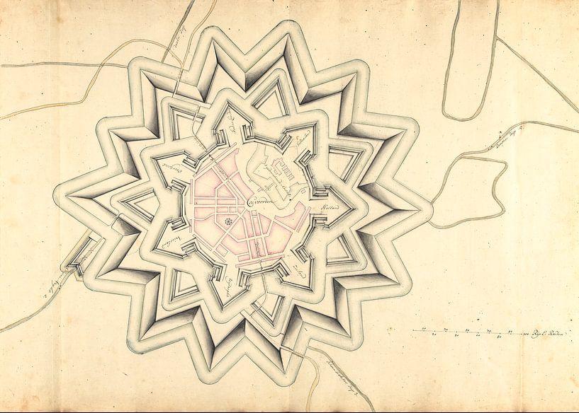 Oude kaart van de vestingstad Coevorden van omstreeks 1710. van Gert Hilbink