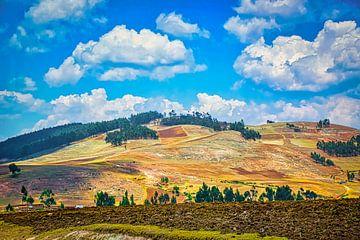 Laat zonlicht op de heuvels van de Heilige Vallei, Peru van Rietje Bulthuis