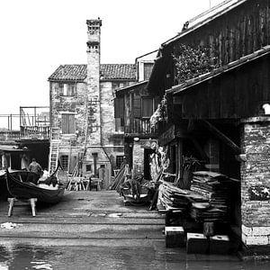 Het gondel boothuis, Venetië  van