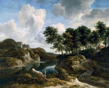 Jacob van Ruisdael - Rivierlandschap met een kasteel op hoge klif van