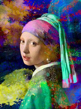 Mädchen mit einem Perlenohrring Abstract von Art By Dominic