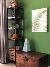 Klantfoto: Schilderij van een varen blad; blad jungle van Bianca ter Riet, op canvas