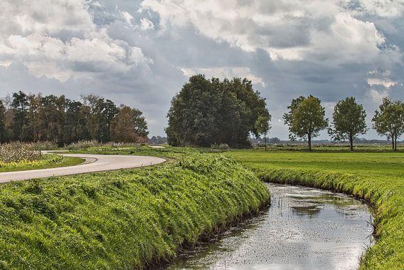 Weggetje en slootje in Groningen