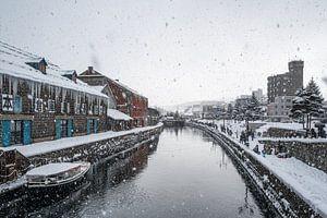 Otaru kanaal tijdens een hevige sneeuwbui