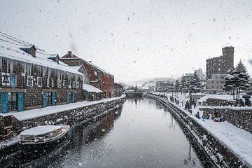 Otaru kanaal tijdens een hevige sneeuwbui van Mickéle Godderis
