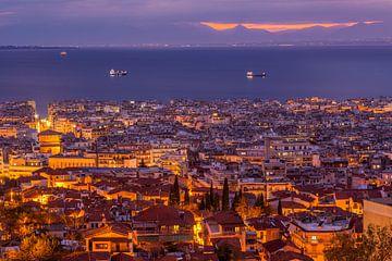 Avond in Thessaloniki, Griekenland
