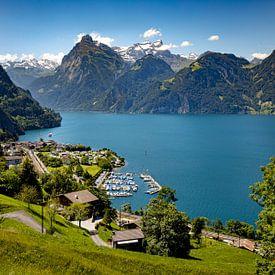Uitzicht op Sisikon, Zwitserland van Adelheid Smitt