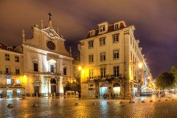 Kirche Sao Domingos  bei Nacht, Lissabon, Portugal