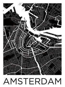 Amsterdam Nord und Süd | Stadtplan ZwartWit von Wereldkaarten.Shop
