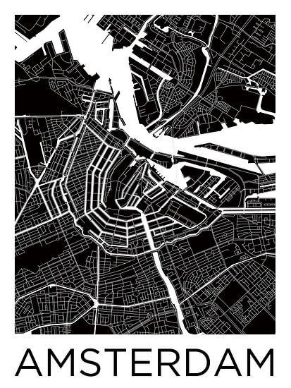 Amsterdam Noord en Zuid | Stadskaart ZwartWit