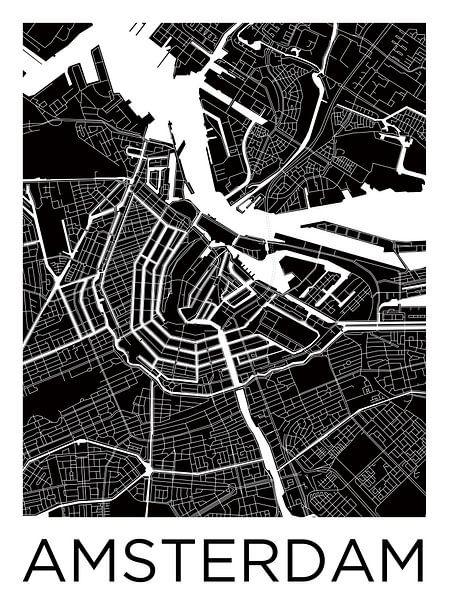Amsterdam Noord en Zuid | Stadskaart ZwartWit van Wereldkaarten.Shop
