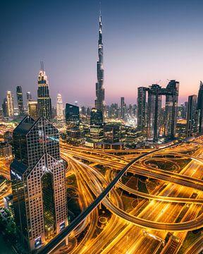Dubai skyline, Burj Khalifa, Shangri-La Hotel van Harmen van der Vaart