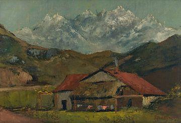 Berge mit einer Hütte, Gustave Courbet von Atelier Liesjes