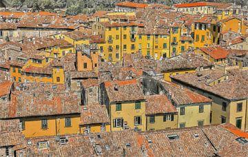 Italie - Toscane - Amfitheater van Lucca - Geschilderde Tekening