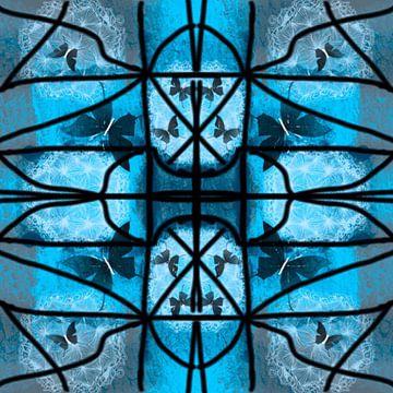 Glas in lood blauw met vlinders van Raina Versluis