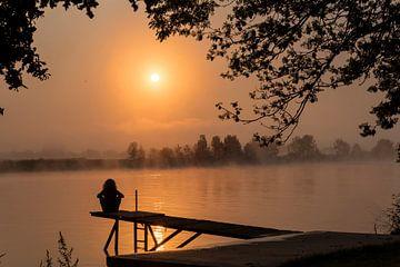 een silhouet van een vrouw die zit aan de maas van Compuinfoto .
