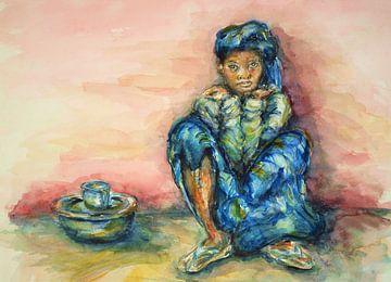 Verlegen Gambiaans meisje. van Ineke de Rijk