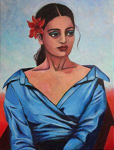 Mädchen In Blauer Bluse von Lucienne van Leijen