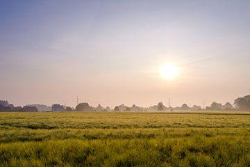 Zonsopkomst boven veld in Hasselt van Johan Vanbockryck