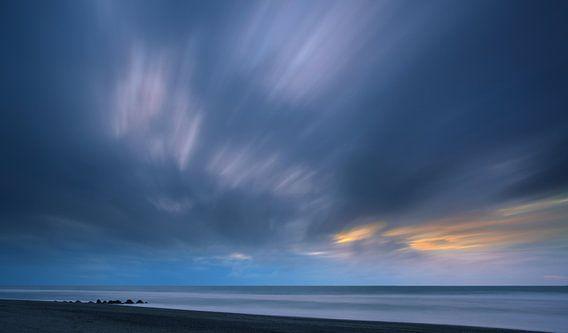 Zonsondergang Hokitika Beach, Zuider-Eiland, Nieuw Zeeland