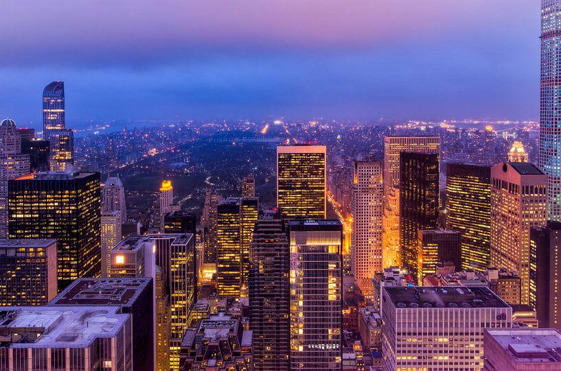 New York, central park bij Nacht van Michael Bollen