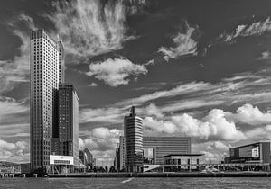 Kop van zuid Rotterdam in zwartwit van Ilya Korzelius