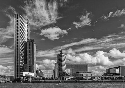 Kop van zuid Rotterdam in zwartwit