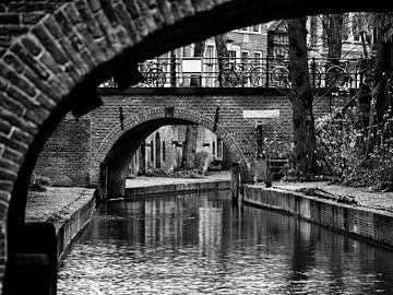 Nieuwegracht Utrecht in zwart-wit van De Utrechtse Grachten