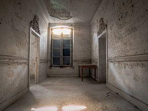 Kasteel / Chateau Hogemeyer, België - Urbex / hal / deuropening / tafel / raam / lichtinval / grijs van