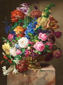 Porzellan-Malerei (Blumenstillleben in einer Vase), Joseph Nigg