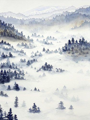 Mistig landschap op een koude winterochtend