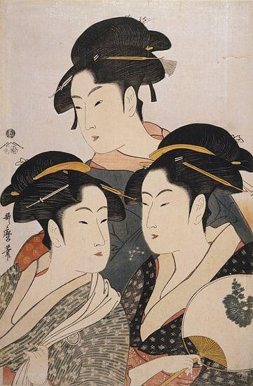 Kitagawa, Utamaro,drie schoonheden, Kosha, Japanse prent van Liszt Collection