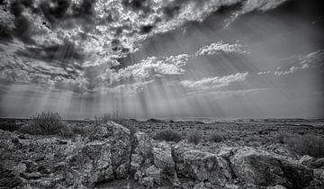 zonneharp boven namibië van Ed Dorrestein