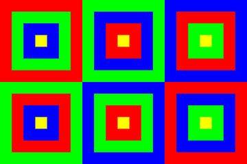 6 permutaties met midden geel | ID=07 | V=07 | Boxed van Gerhard Haberern