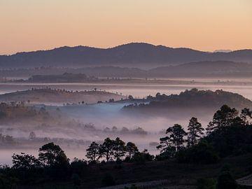 Voor dag en dauw door de heuvels van Kalaw Myanmar van Rik Pijnenburg