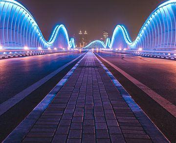 Meydan brug in Dubai van michael regeer