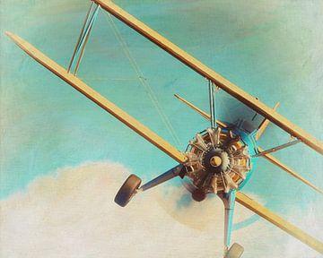 Peinture de style rétro d'un Boeing Stearman modèle 75 volant de 1936 sur Jan Keteleer