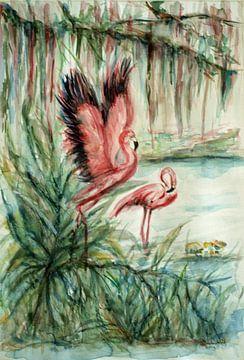 Rosa Flamingos von Ineke de Rijk